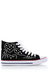 CELIA Black Studded Sneakers