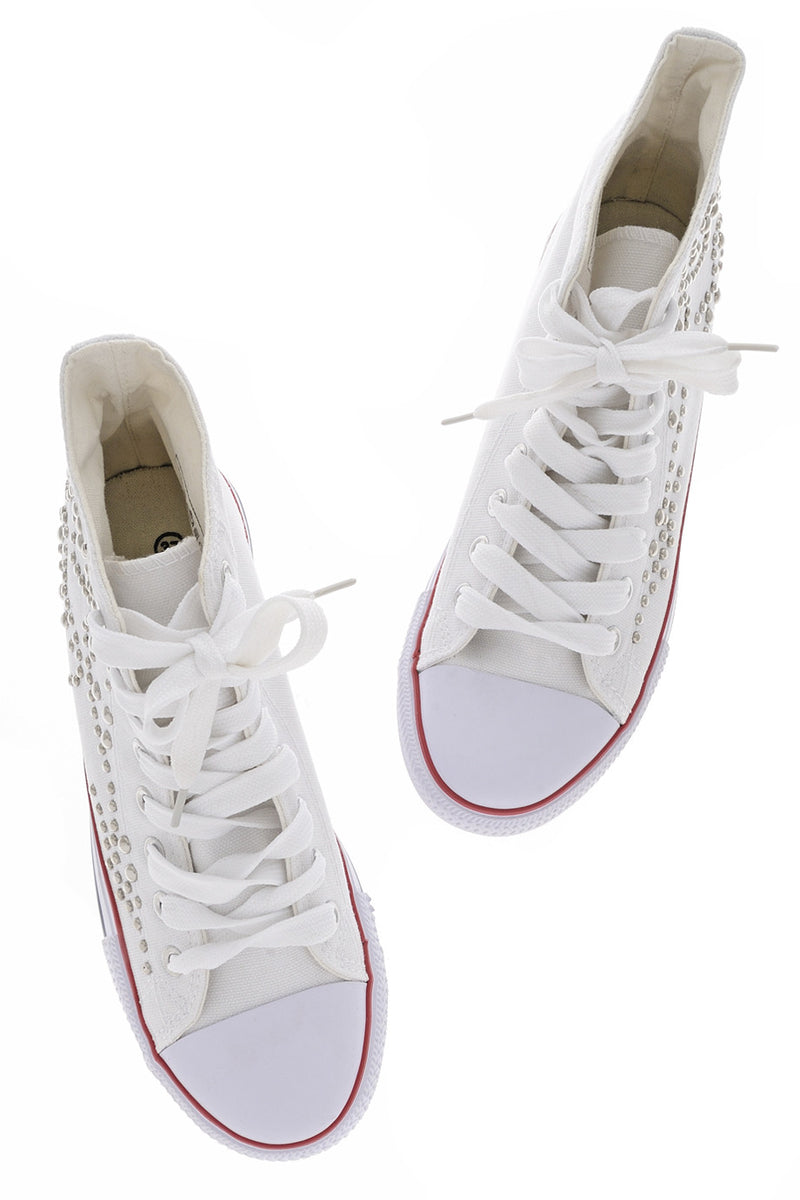 CELIA White Studded Sneakers