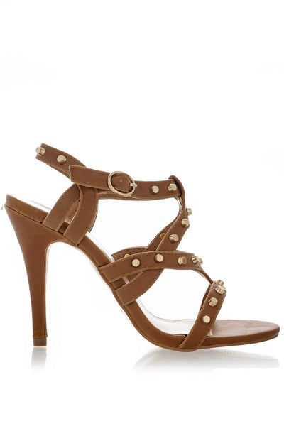 CYNDIE Brown Studded Heels