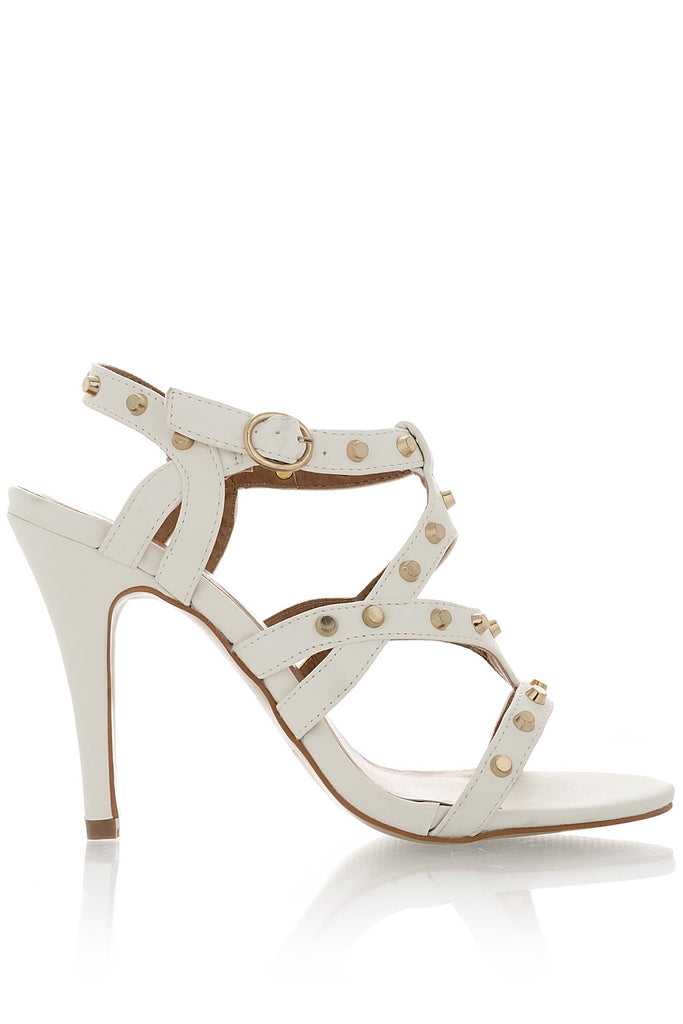 CYNDIE Off White Studded Heels