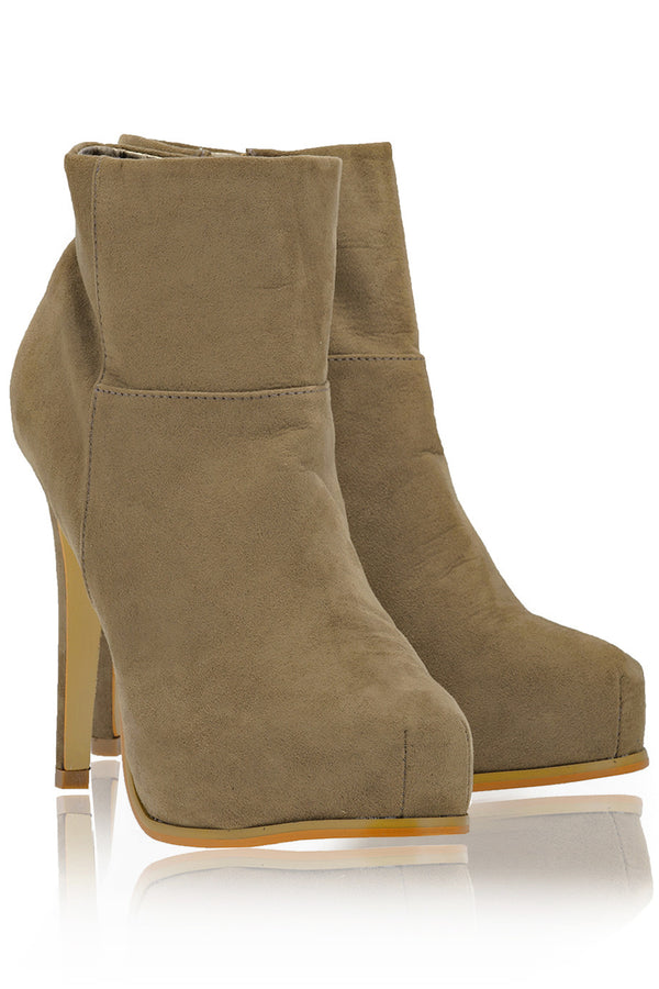 ELSA Taupe Suede Ankle Boots