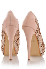 EVETTE Nude Sequined Peep Toe