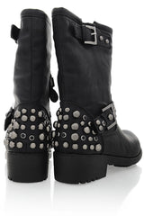 IVONA Black Studded Women Ankle Boots