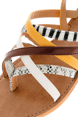 KRISTA Yellow Animal Print Sandals