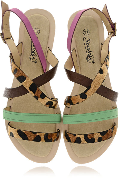 LEOPARD Green Fuchsia Sandals