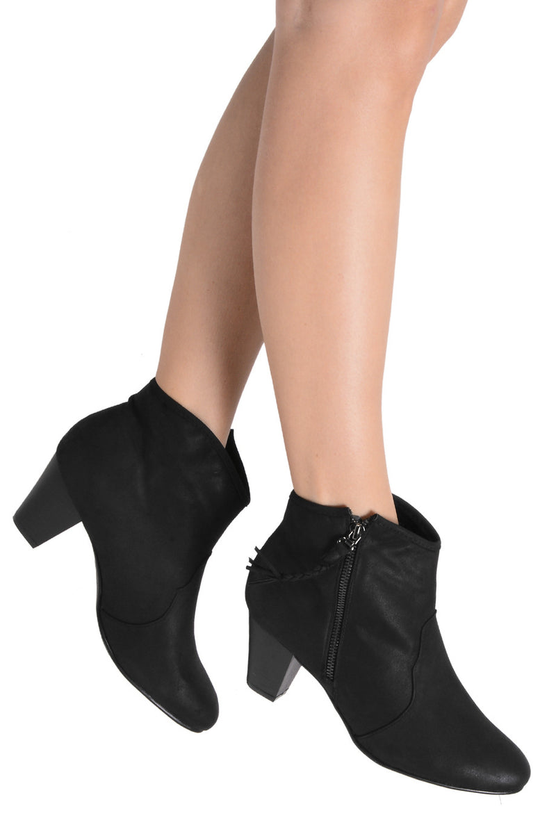 MELI Black Side Zip Cowboy Boots