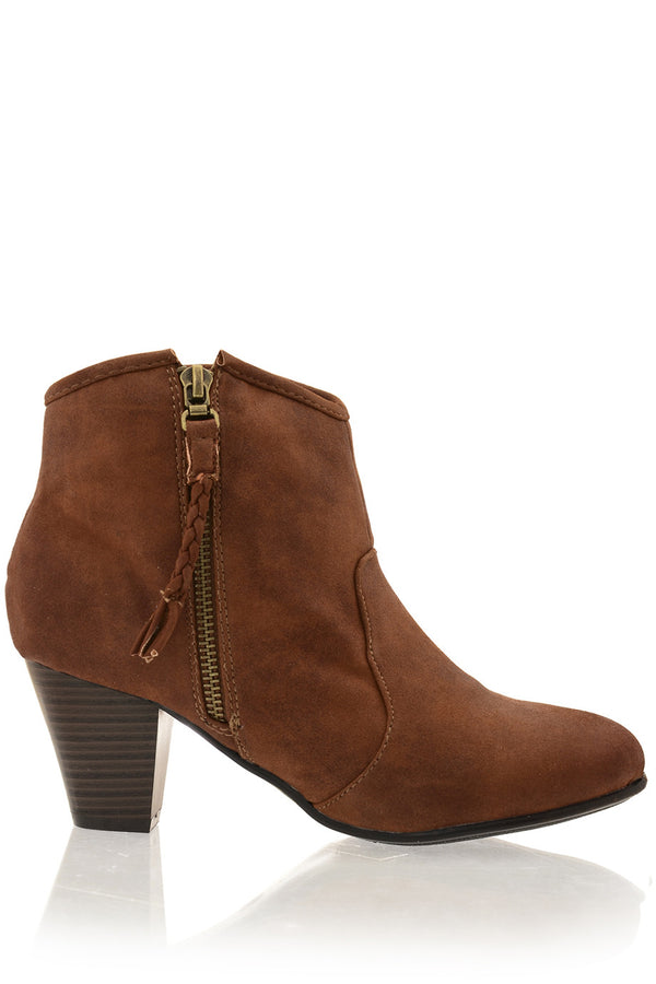 MELI Brown Side Zip Cowboy Boots