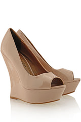 TIMELESS - MELLIE Nude Patent Peep Toe Wedges - Women Shoes - Heels