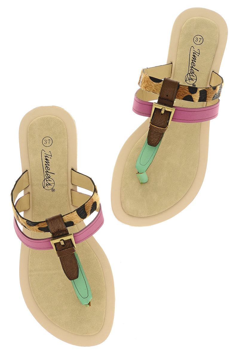 ODELIA Green Fuchsia Sandals