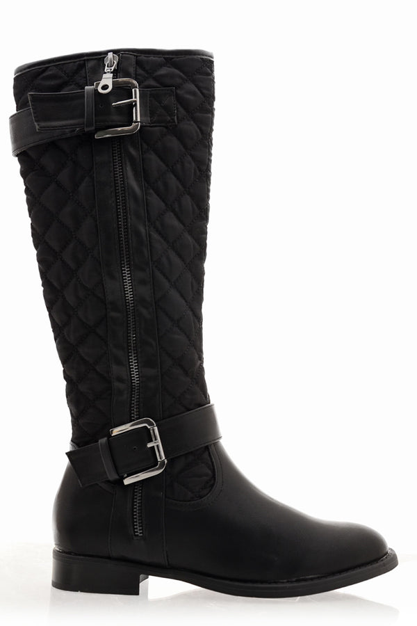 PAVIA Black Matte Quilted Knee-High Boots