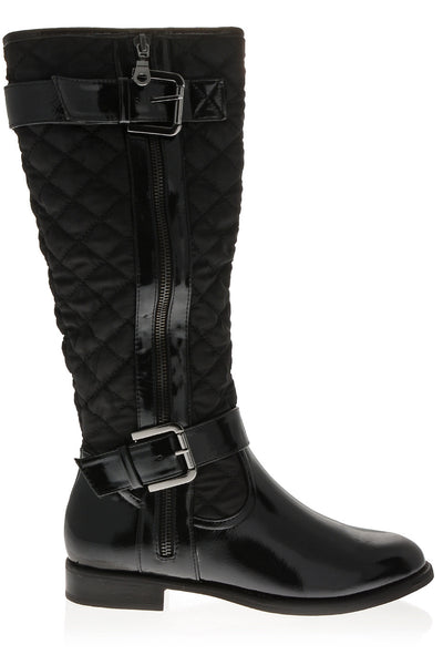 PAVIA Black Patent Quilted Knee-High Boot