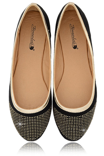 PRYIA Black Multi Studded Ballerinas