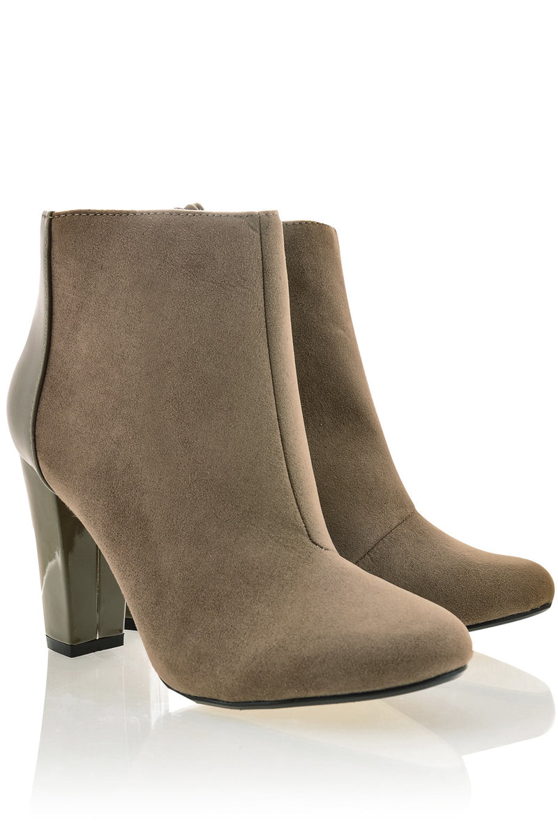 REAGAN Taupe Suede Αnkle Boots