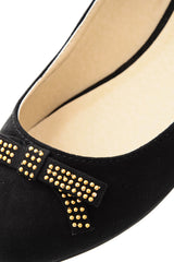 ROSALYN Black Suede Studded Ballerinas