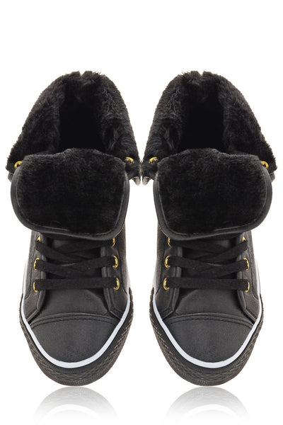 TALICE Black Hi-Top Fur Trainers