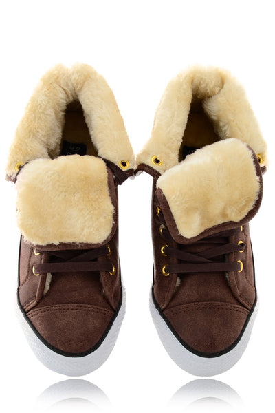 TALICE Brown Hi-Top Fur Trainer
