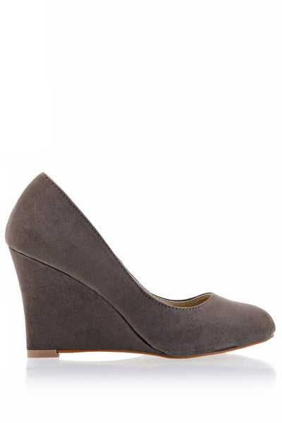 TILDA Gray Suede Wedges