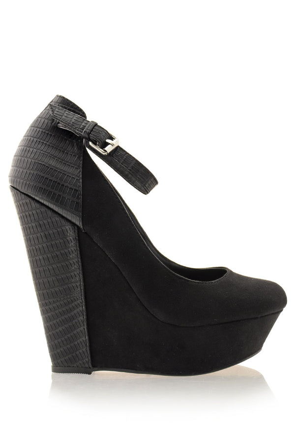 AMICE Black Ankle Strap Wedges