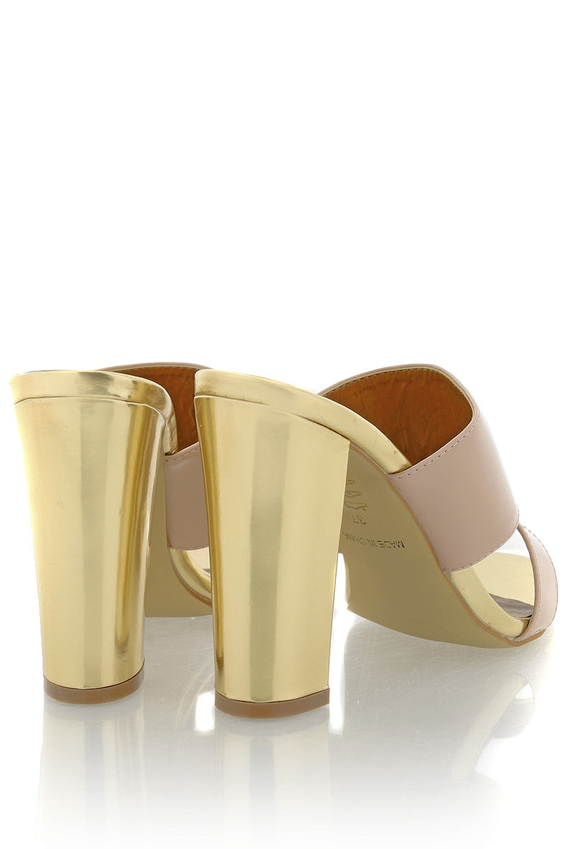 AMY Nude Gold Mules