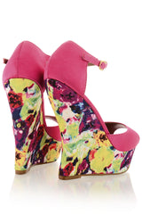 BLOSSOMS Fuchsia Ankle Strap Wedges
