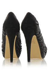EVETTE Black Sequined Peep Toe