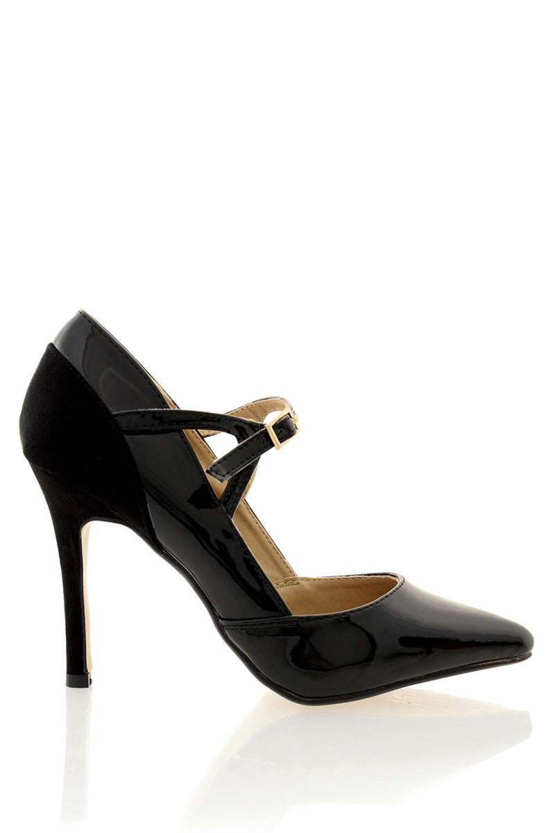 FELICIA Black Ankle Strap Court Shoes