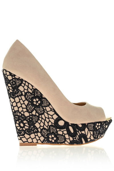 KARLIE Nude Lace Wedges