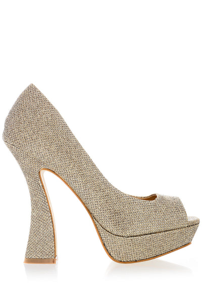 MEGAN Gold Glitter Platforms