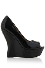 TIMELESS - MELLIE Black Patent Peep Toe Wedges - Women Shoes