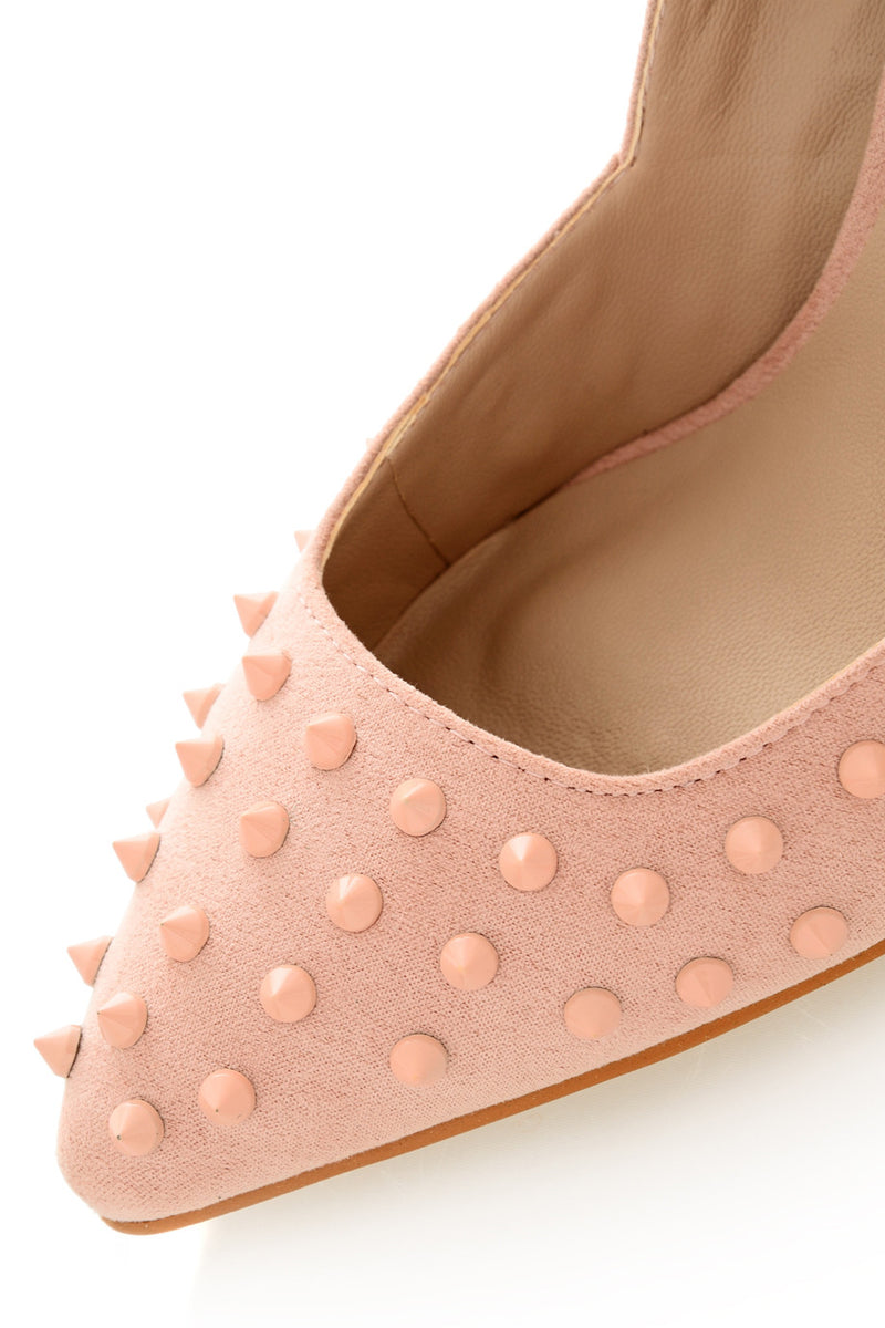 NELLIE Baby Pink Studded Pumps