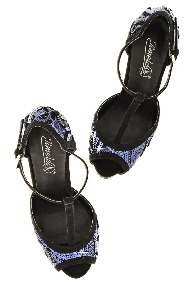 PHYLLIS Dark Blue Sequin Heeled Sandals
