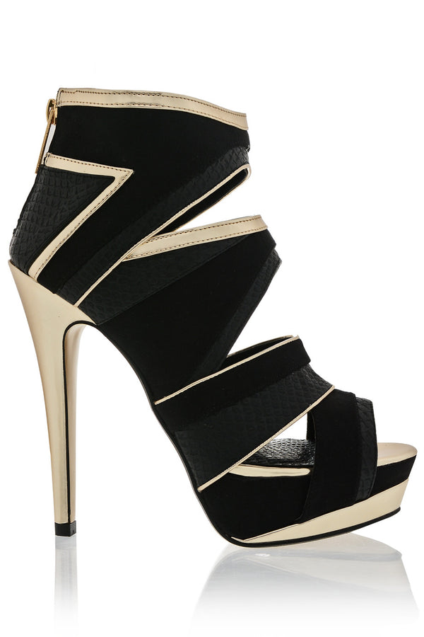 RICHENDA Chopped Out Black Sandal
