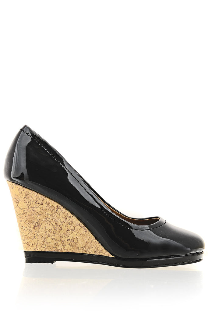 ZODIE Black Cork Wedges