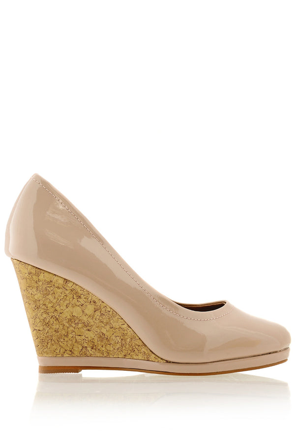 ZODIE Nude Cork Wedges