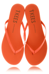 LIPGLOSSES Poppy Orange Leather Thong Sandals