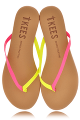 MIXED PALETTE Pink Citrus Leather Thong Sandals