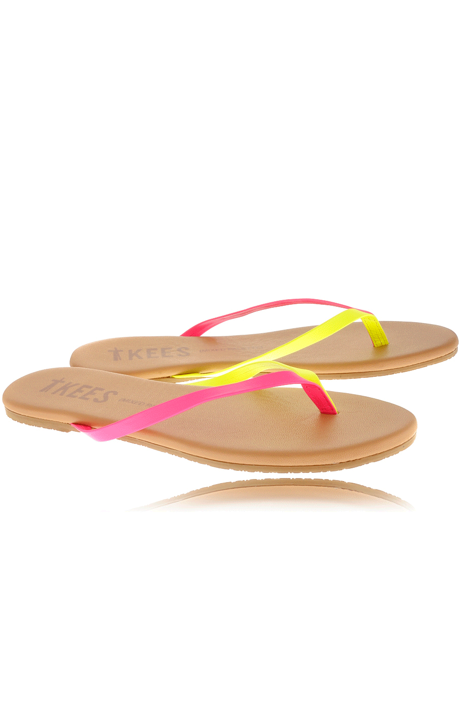 30ae25265 TKEES MIXED PALETTE Pink Citrus Leather Thong Sandals – PRET-A ...