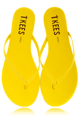 ZINCS Neon Yellow Leather Thong Sandals