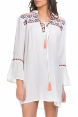 White Dress with embroidery chest and sleeves
