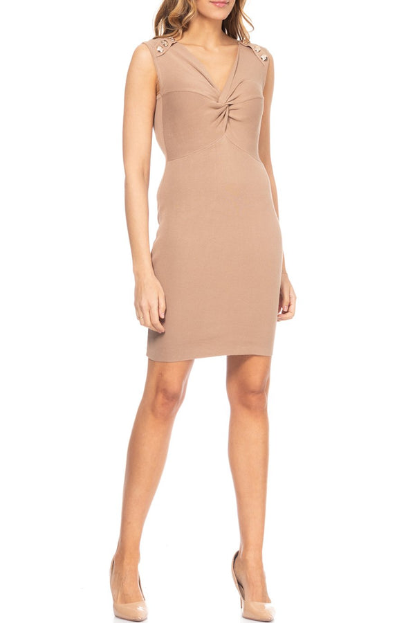 Sandra Beige Knitted Sleeveless Dress