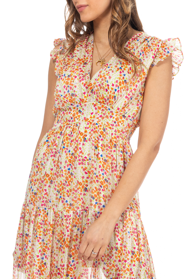 Erinela Colorful Printed Dress with Transparency