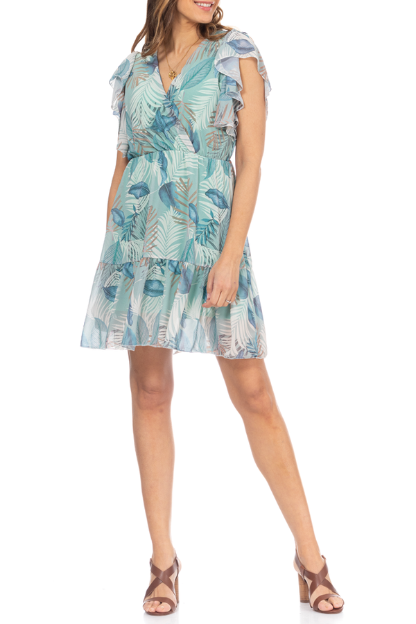 Aqua Blue Printed Dress