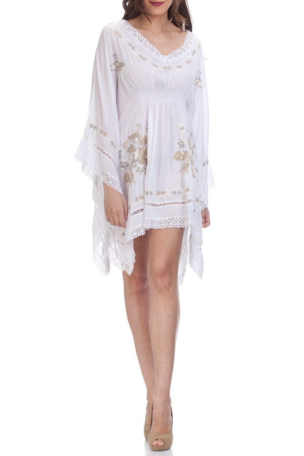 Kurta White Asymmetrical Caftan with Lace