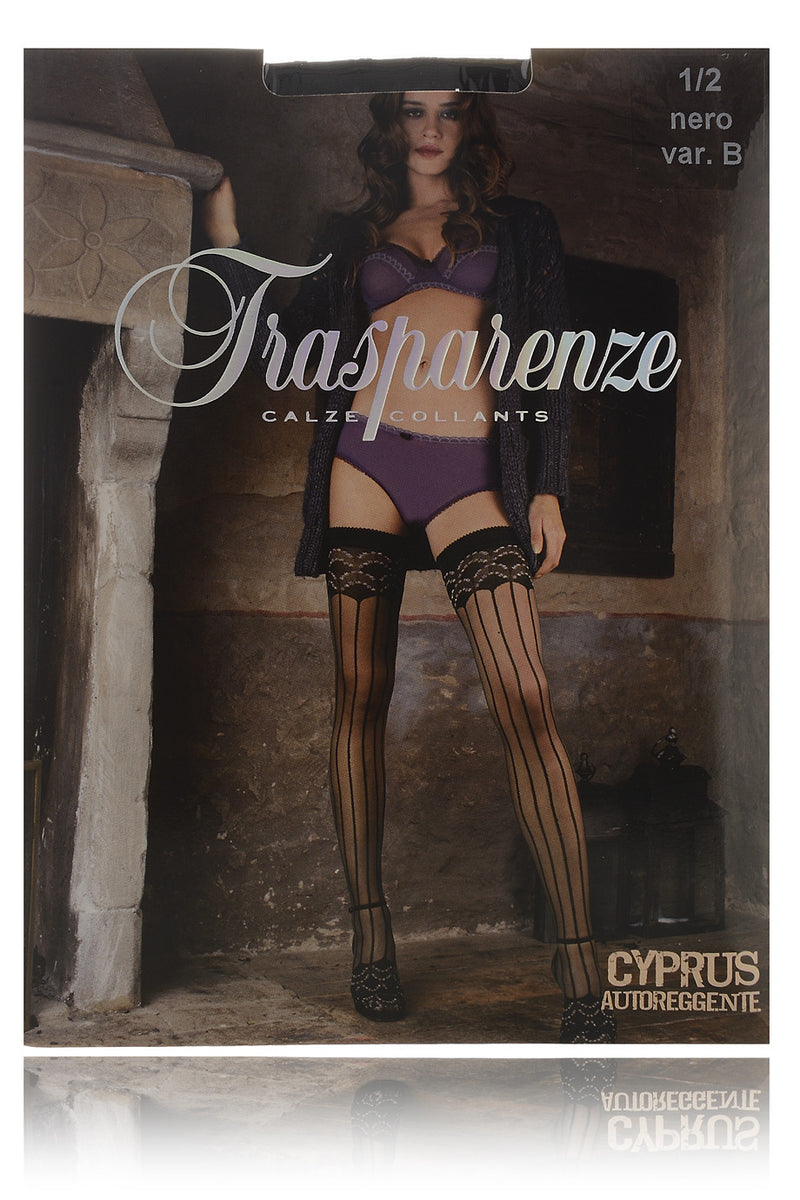 TRASPARENZE CYPRUS Floral Striped Hold Ups