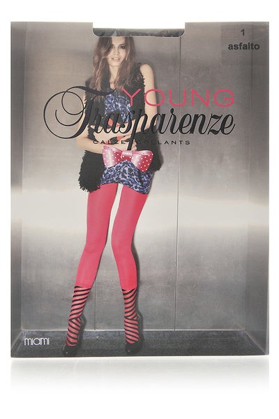 TRASPARENZE MIAMI Striped Tights Asfalto