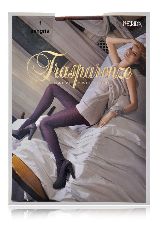 TRASPARENZE NERIDA Vertical Stripes Tights Sangria Bordeaux