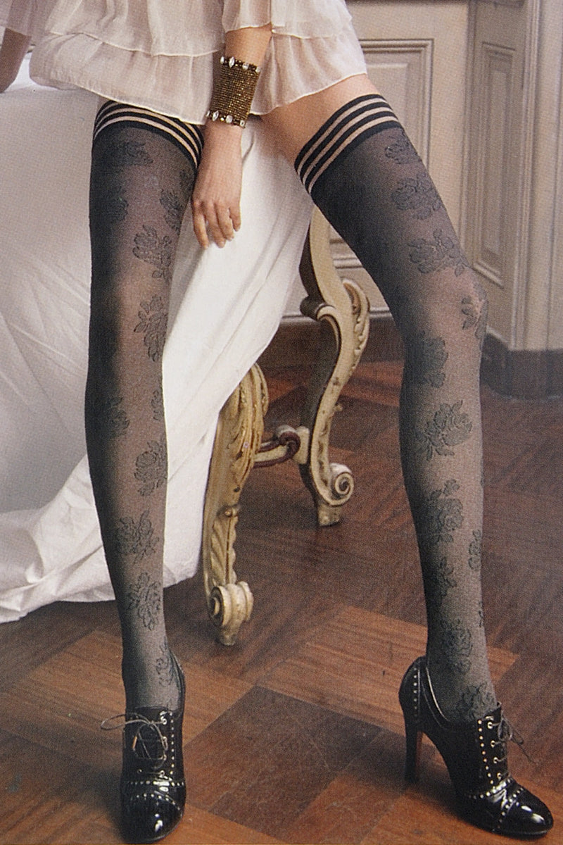 TRASPARENZE SURIAK Floral Hold Ups Dark Brown