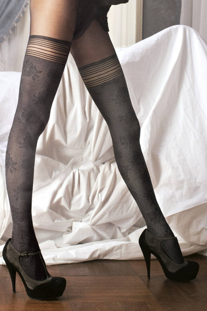 TRASPARENZE SURIAK Floral Tights Nero (Black)