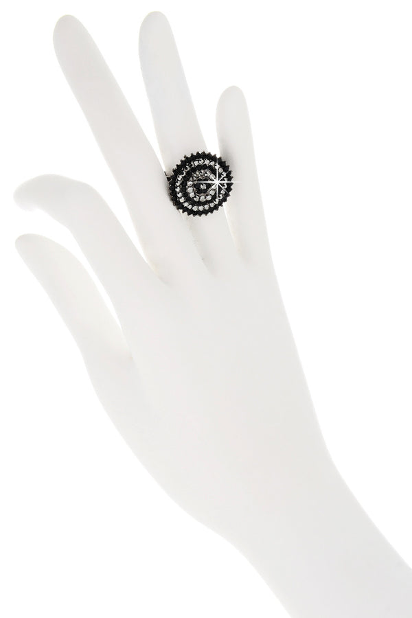 ALBA Black Round Crystal Ring