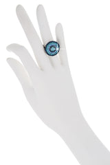 ALBA Blue Round Crystal Ring